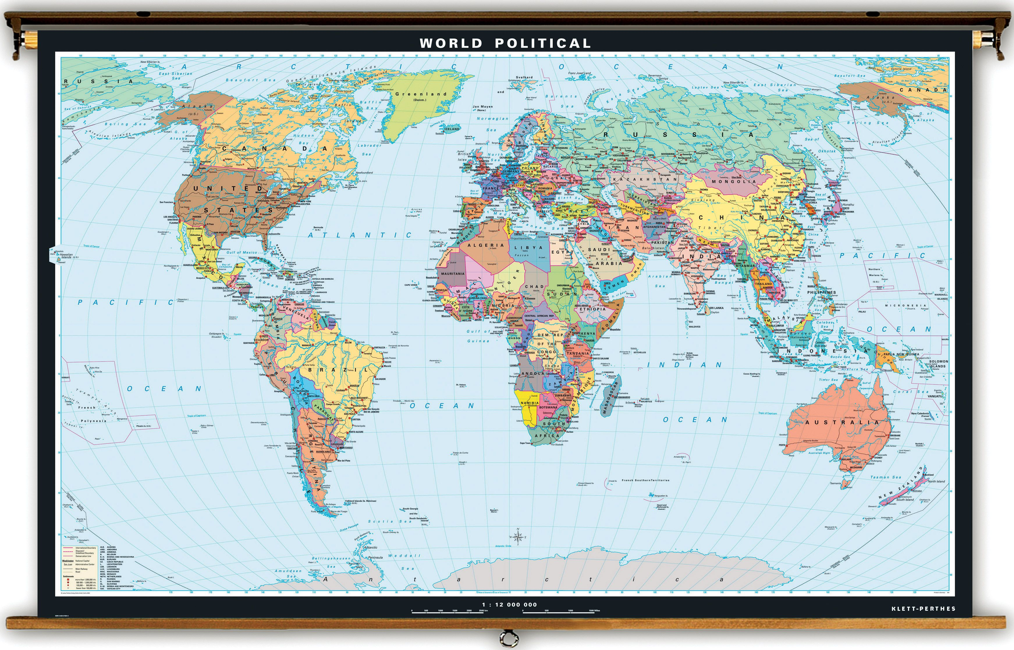 Extra large world political map on spring roller from klett perthes extra large world political map on spring roller from klett perthes gumiabroncs Images
