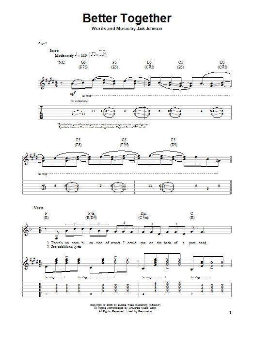 Tablature Guitare Better Together De Jack Johnson Autre Guitars