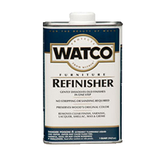 WATCO® Furniture Refinisher is specially formulated to gently dissolve old varnish, wax, lacquer, and shellac without chemicals that may harm wood. WATCO® Furniture Refinisher is an easy, one-step way to refinish old furniture, antiques, and fine wood. Simply wipe it on and wipe away the old finish. The wood's natural beauty is restored.