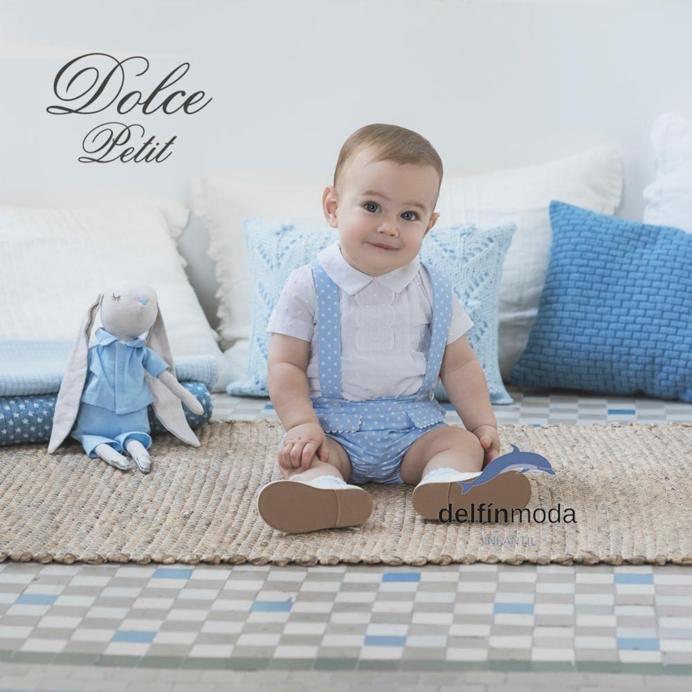 afe925931e4ee Conjunto de recién nacido niño DOLCE PETIT topos y camisa