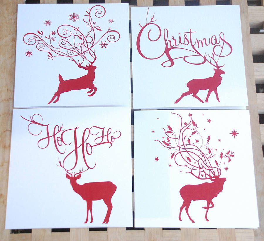 Pack Of Eight Reindeer Christmas Cards | Christmas cards, Cards ...
