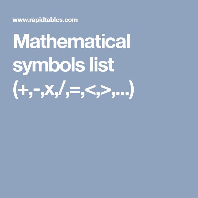 Mathematical Symbols List X College Pinterest