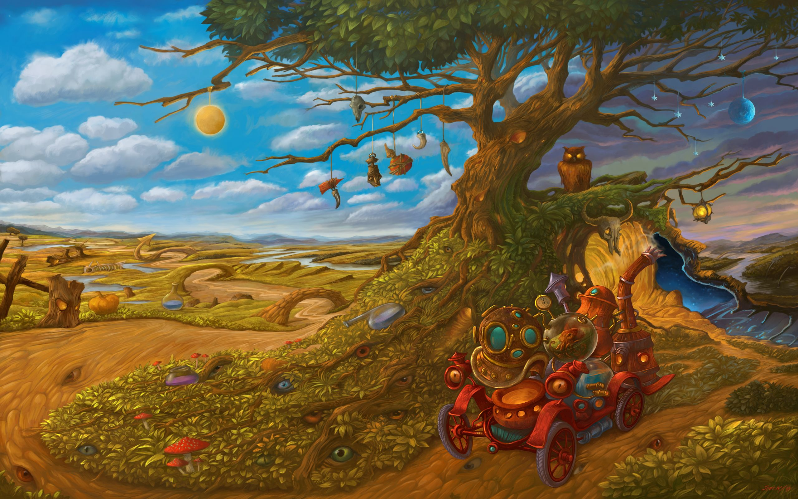 The Magical Car Picture  (2d, surrealism, magical, landscape)  Mitchell C.   Like before is you click on his site this givesyou his current fwork in the metal sculture field.