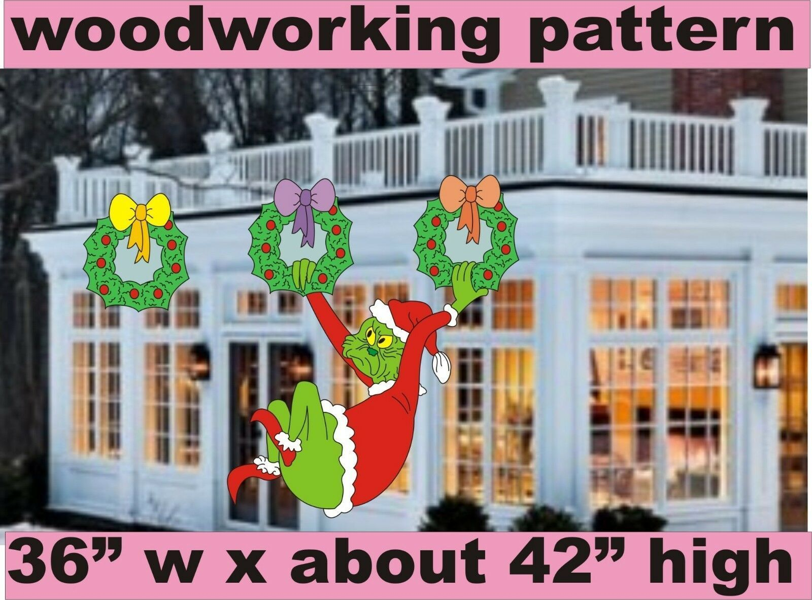 WHOVILLE GRINCH HANGING FROM WREATHS WOODWORKING PATTERN, plan yard art   #Art #grinch #hanging #pattern #plan #whoville #woodworking #wreaths #yard