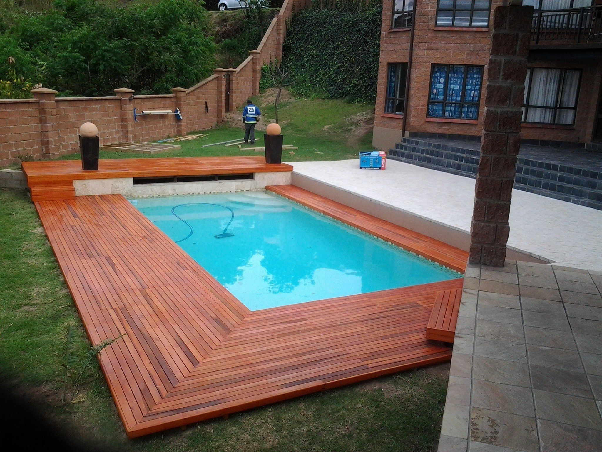 20 Stunning Wood Pool Deck Design For Home Outdoor Inspiration Ideas Teracee Wood Pool Deck Inground Pool Designs Pool Deck Plans