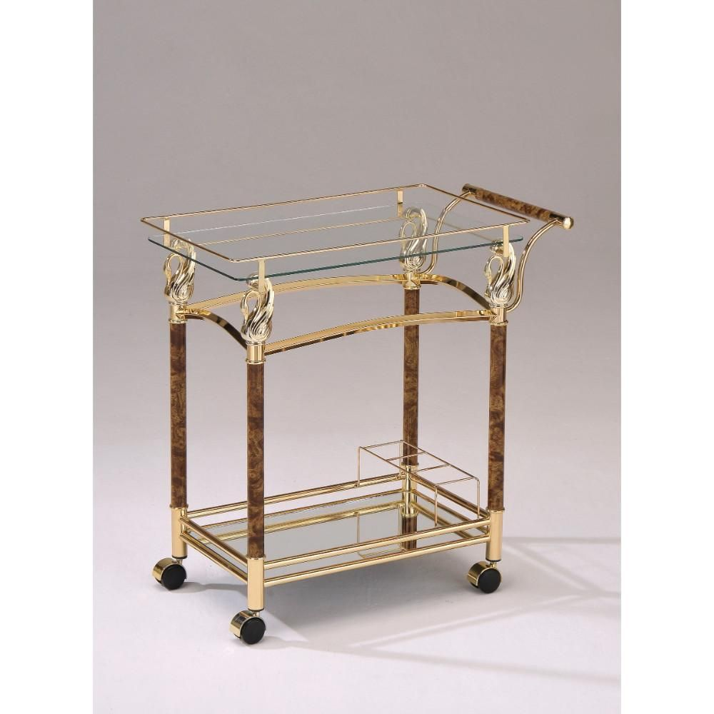 Alluring serving cart golden plated u clear glassacme in