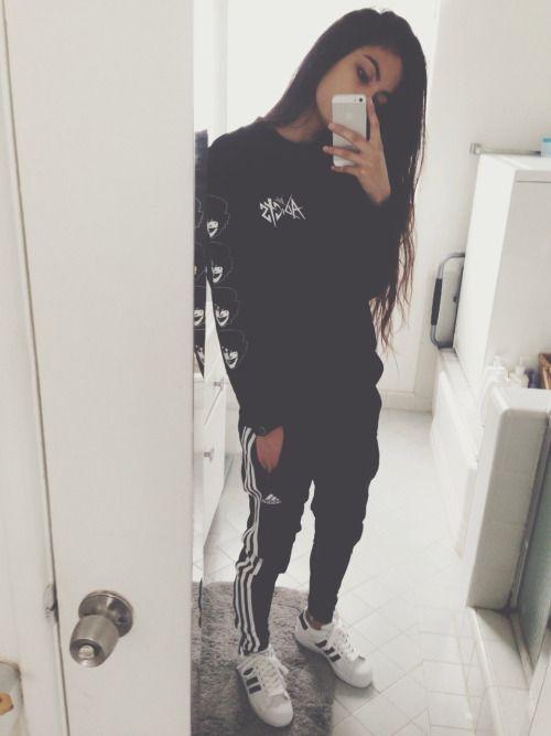 pants adidas black white comfy cute sportswear shoes t-shirt leggings shirt  sweatershirt sweater white black shoes adidas sweatpants sweatpants all  black ...