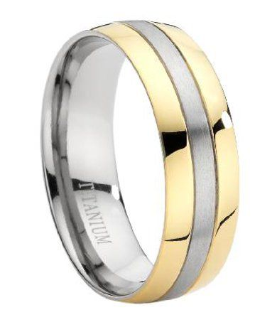 Comfort Fit Titanium Wedding Ring With Two Toned And Polished Finish