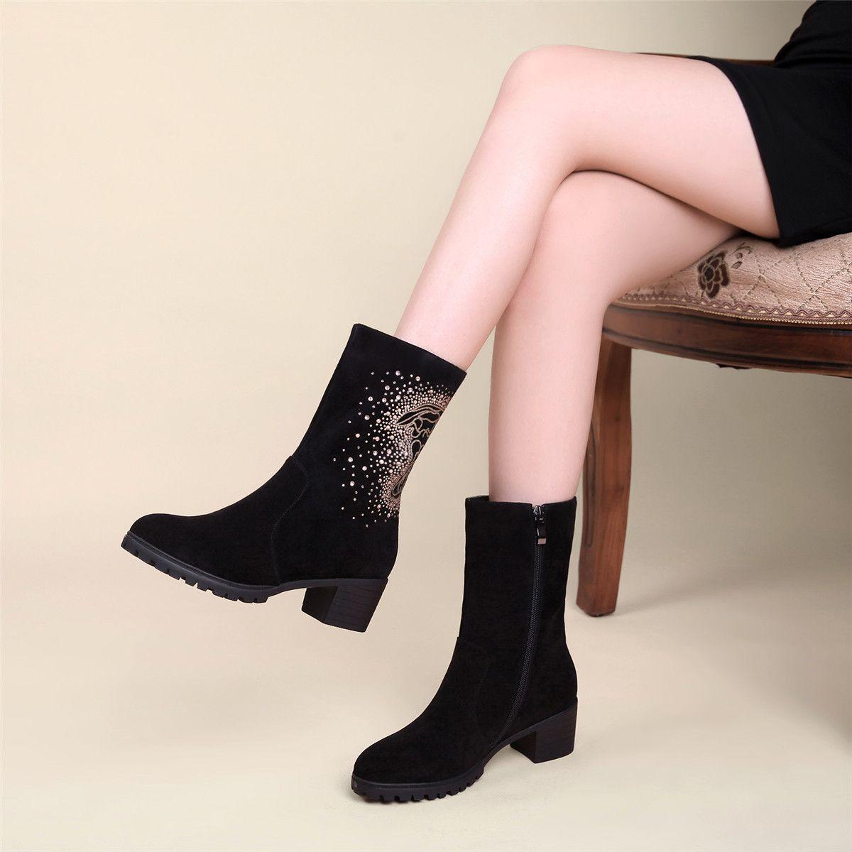 96c7ab1351bf6 Nine Seven Women s Genuine Leather Round Toe Low Heel Black Mid Calf Boot