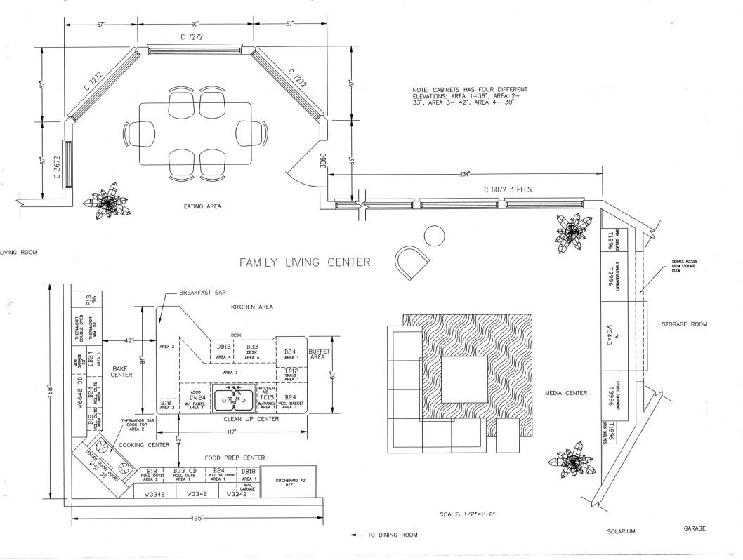 Kitchen Floor Plan - Construction Drawing | Construction Document ...