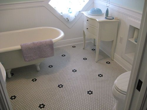 Vintage Chic Bathroom Floor Lyric Retro Hexagon Mosaic