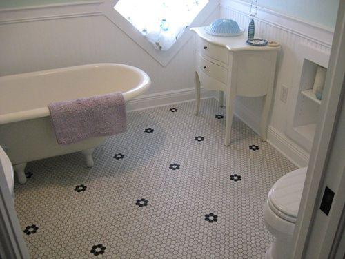 Vintage Chic Bathroom Floor Lyric Retro Hexagon Mosaic Tile