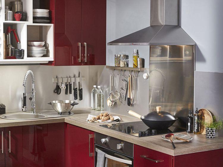 Bois, granit, quartz\u2026 Quel plan de travail pour ma cuisine ? - Plan De Travail Cuisine Rouge