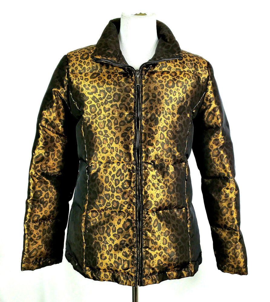 Allan Denis Metalllic Leopard Print Full Zip Down Jacket Womens M Euc Ebay Jackets For Women Jackets Vest Jacket [ 1000 x 893 Pixel ]