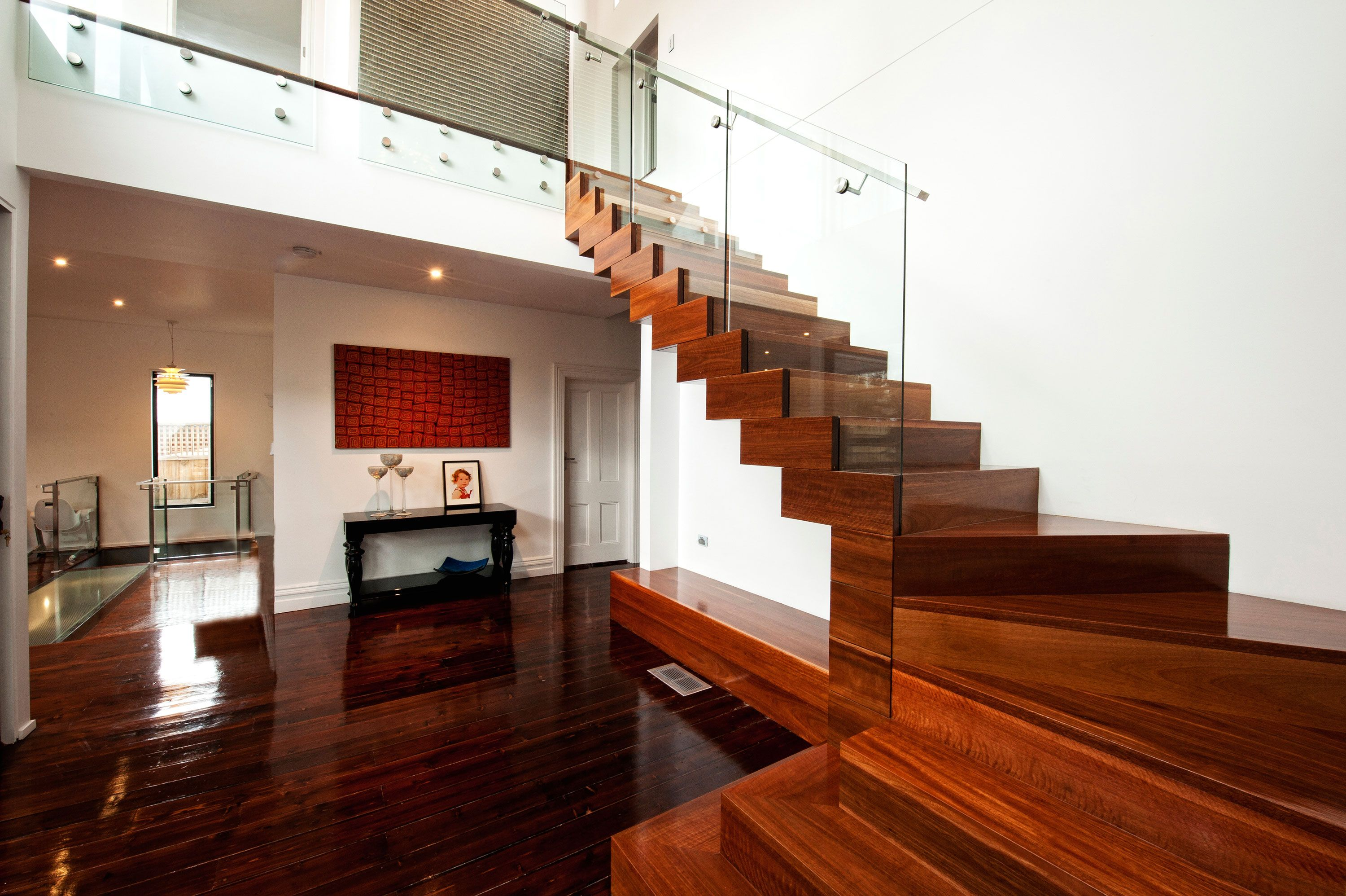 design feature stair box glass balustrade stainless