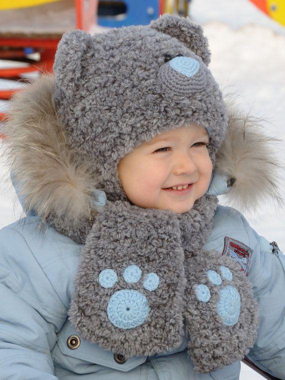 Teddy bear hat Kids animal hat Knit hat kids Bear hat Winter animal hat Gray hat toddler Animal hat gray Bear animal hat Toddler animal hat
