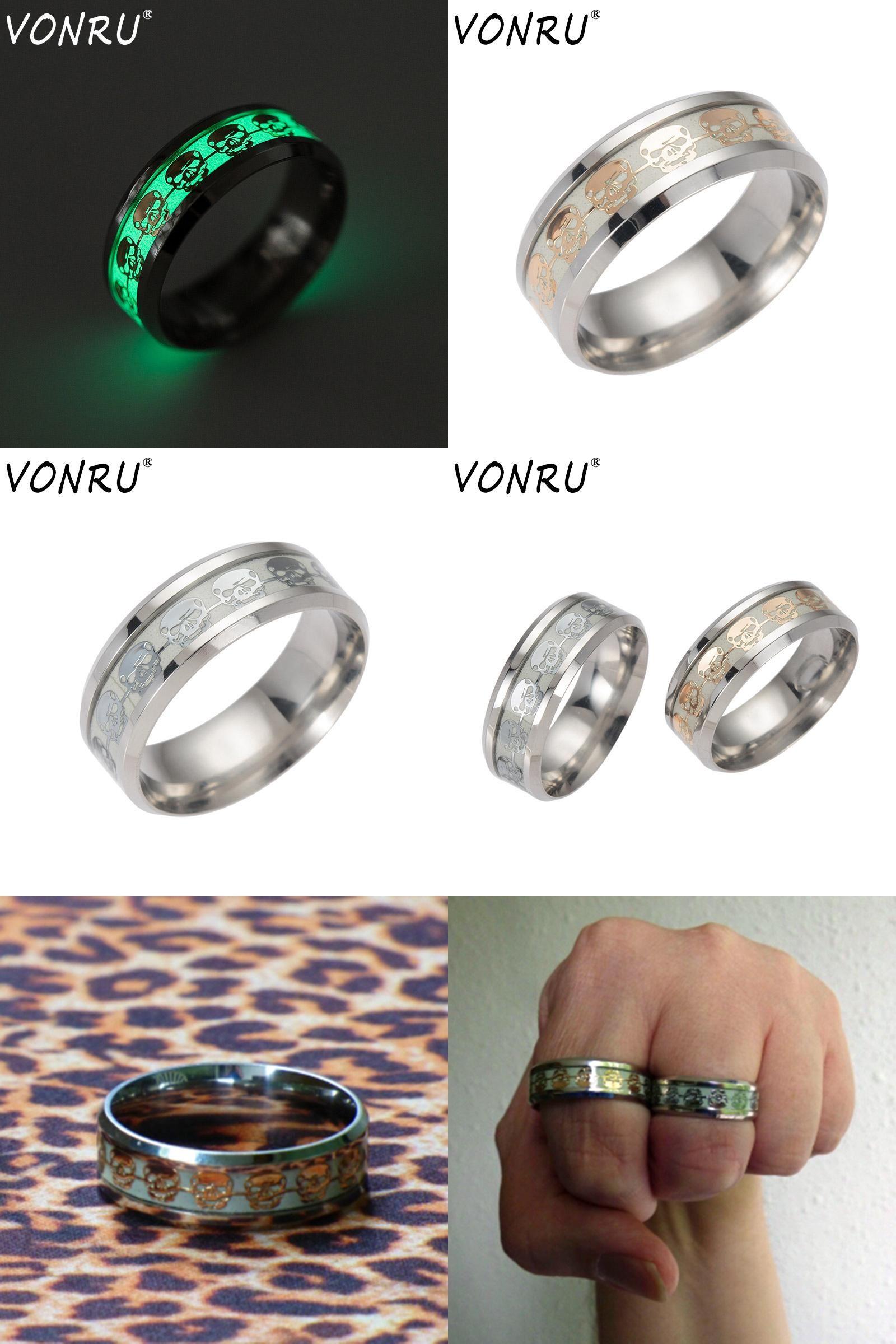 Visit to Buy] Creative Mens Ring Luminous Skull Rings for Men Gold