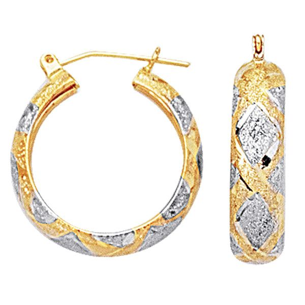Fine Jewelry Diamond-Cut Hoop Earrings 2-Tone 10K Gold NG3G3R