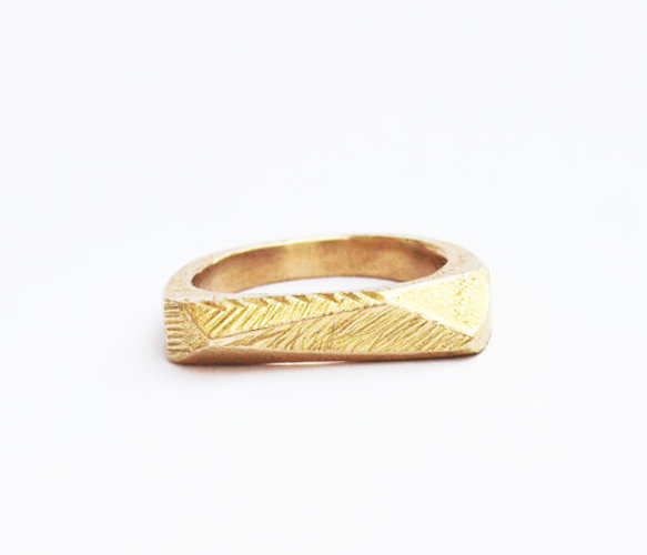 Brass Faceted Bar Ring  by Kerrie Yeung