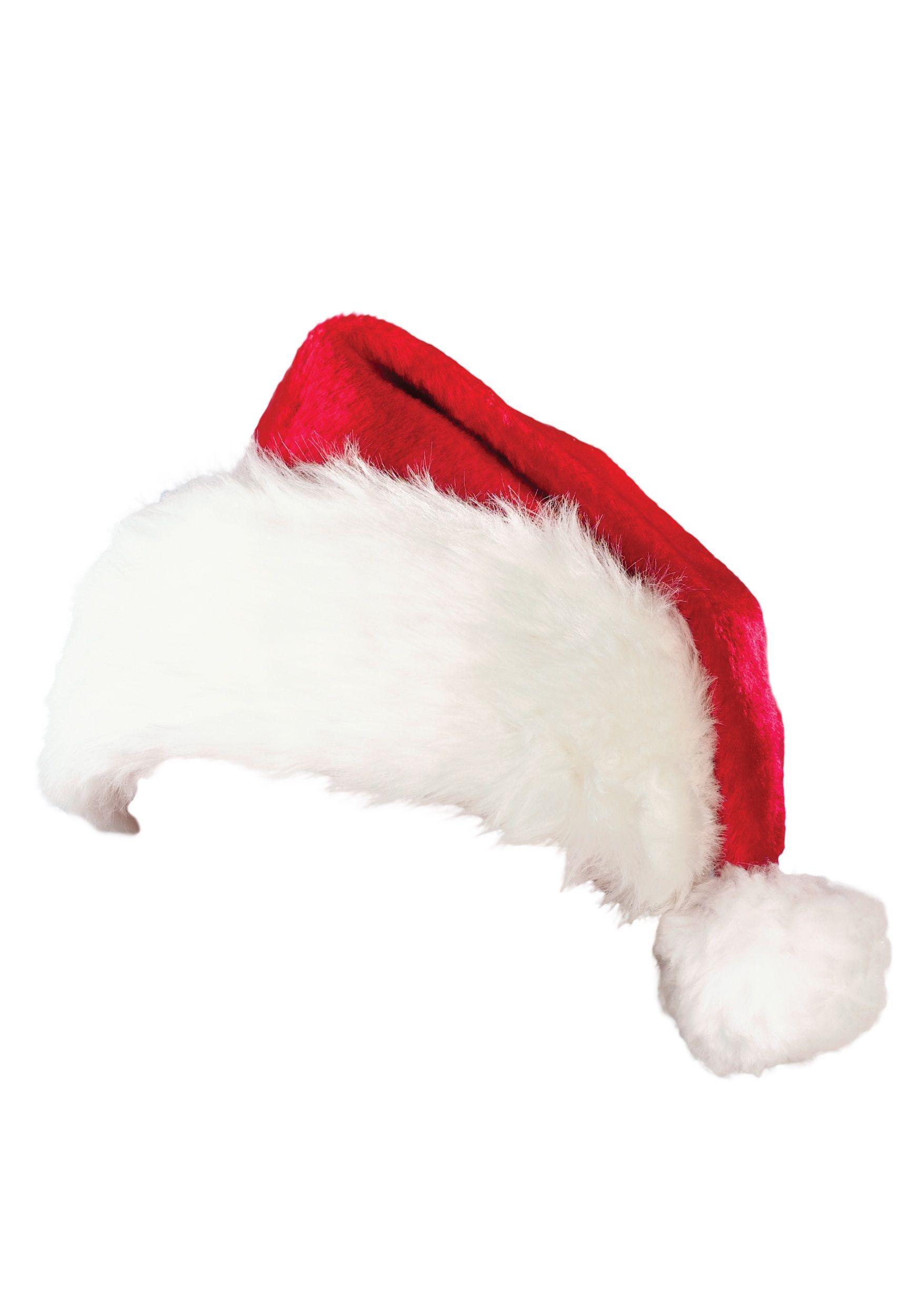 Deluxe Plush Santa Hat Faux fur pom pom hat, Plush santa