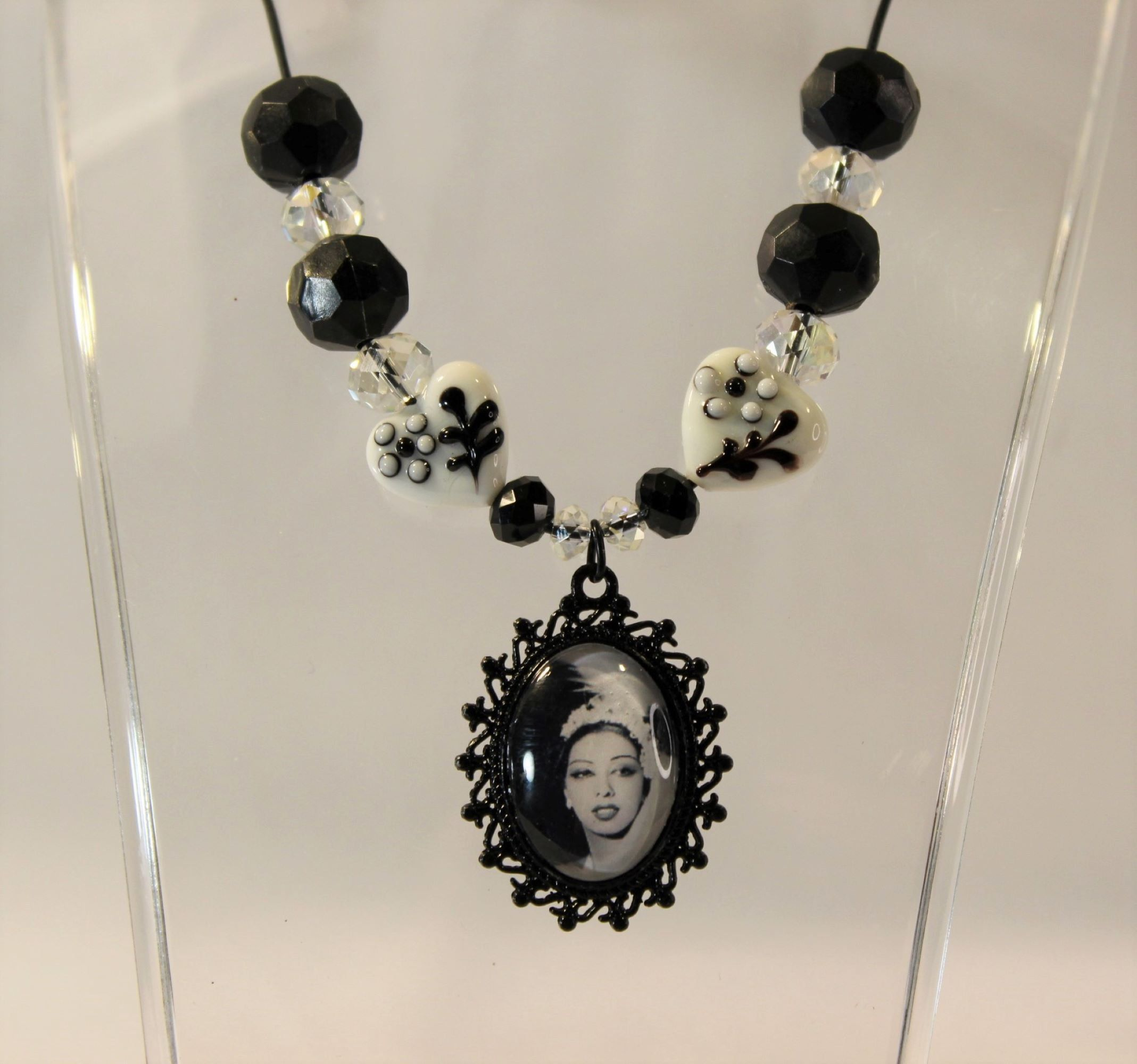 Sean Connery Never Say Never Again Glam Acrylic Beaded Rhinestone Necklace in Black and Clear