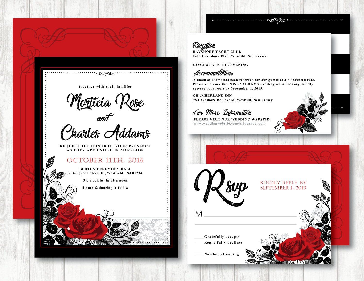 Red Roses Intertwined Theme Printable Wedding Invitation Red Rose Invitation Gothic Wedding Black Red Save The Date Custom Printable Wedding Invitations Wedding Invitations Red Rose Invitation