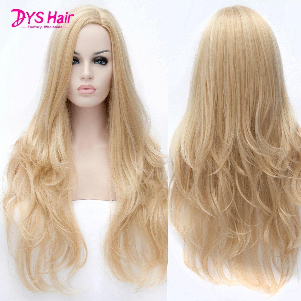 150% Density Blonde Wig Dengan Poni Wig Sintetis Untuk Perempuan Kulit  Hitam panjang Bergelombang Tahan Panas Rambut Alami Murah Rambut Wig 24 Inch f33e222f8b