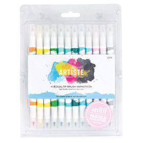 Docraft Artiste Dual Tip Permanent Brush Marker Pens Art//Craft x 12 Bright
