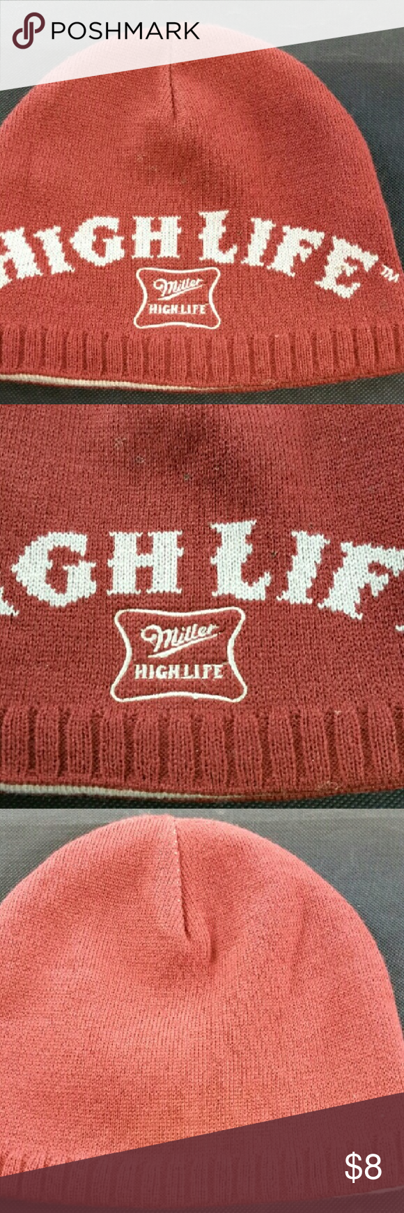 36505f20fa959 Bio-domes burgandy miller high life beanie hat Men s Bio-domes burgandy  miller high life beanie hat. Very well made hat