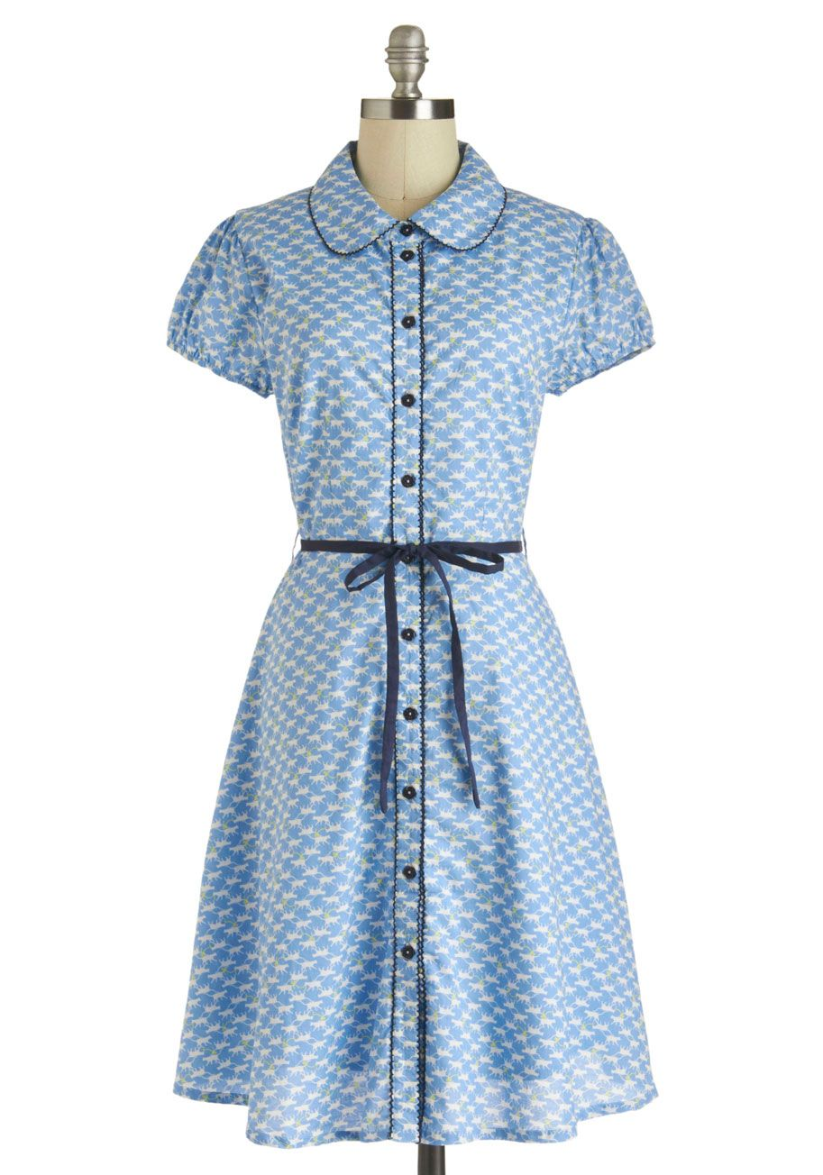 Meow-ily We Go Dress - Cotton, Long, Blue, Multi, Print with Animals, Buttons, Peter Pan Collar, Belted, Casual, A-line, Button Down, Short Sleeves, Collared, Pockets