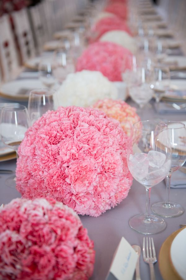 Pink And White Carnation Sphere Centerpieces Shared In The Style Me Pretty Vault Carnation Wedding Centerpieces Carnation Centerpieces Carnation Wedding