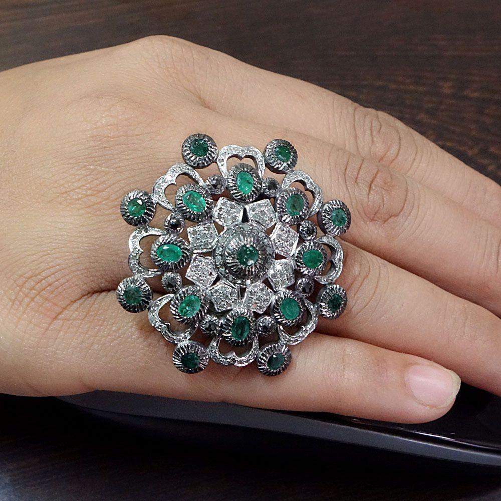 Antique Look Ring 925 Sterling Silver Pave Diamond Gemstone Emerald Fine Jewelry #Handmade #Cocktail #Birthday