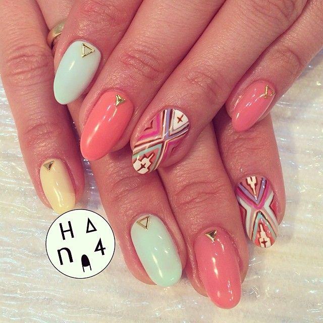 26 Impossible Japanese Nail Art Designs: #pastel #nativeamerican #hana4 #nail #hana4art