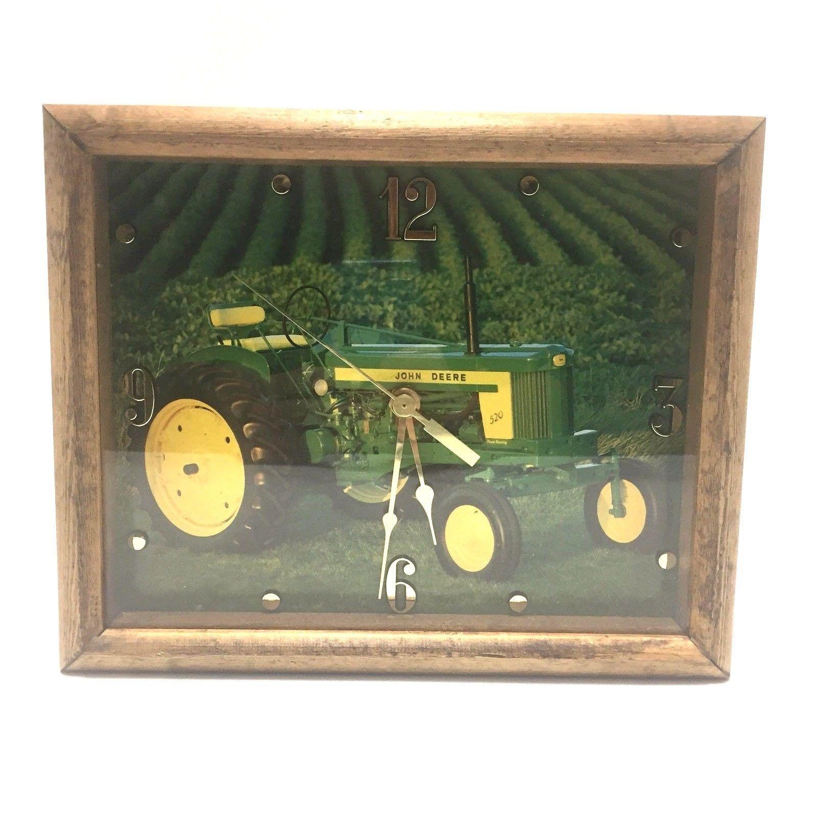 John deere 520 tractor wall clock custom made wood frame usa 9x11 john deere 520 tractor wall clock custom made wood frame usa 9x11 ebay jeuxipadfo Images