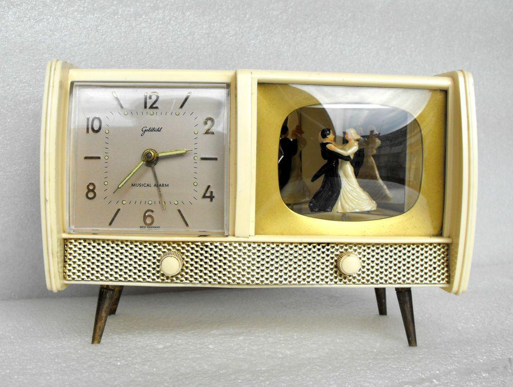 Vintage Old Goldbuhl 1950 S Tv Alarm Clock Musical Box Secura