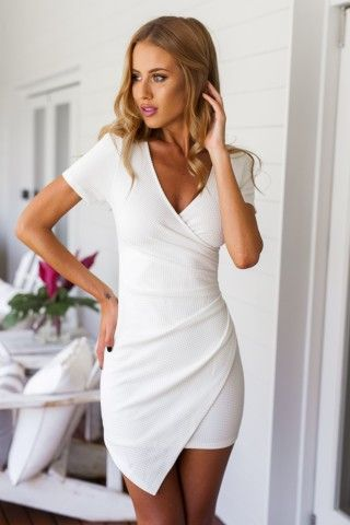 White Short Sleeve Pleated Bodycon Dress | USTrendy