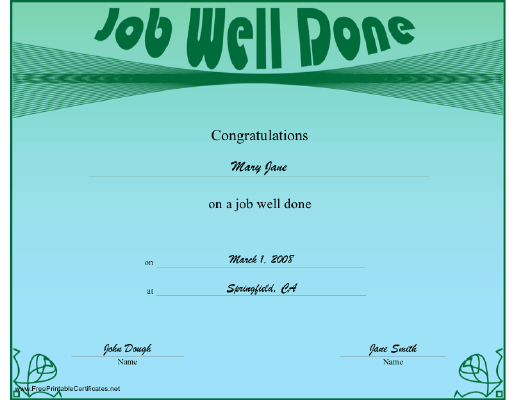 A Green And Blue Certificate Offering Congratulations For A Job