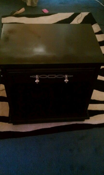 Revamped my nightstand...black lacquer & metallic silver