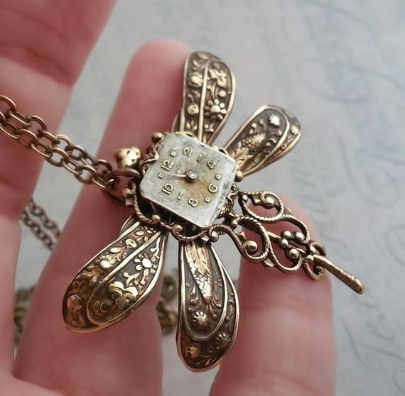 Steampunk Dragonfly Necklace, Victorian Steampunk Necklace