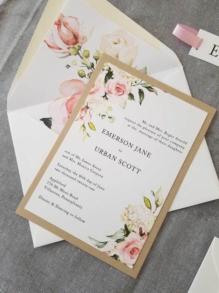 Blushing Garden Wedding Invitation Suite