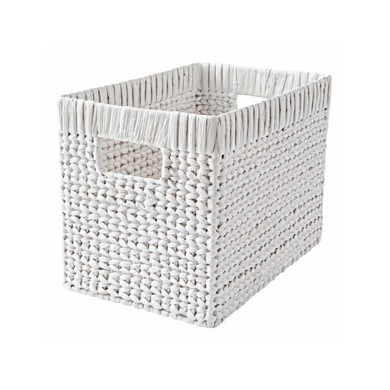 White Wicker Basket Reviews Crate And Barrel White Wicker