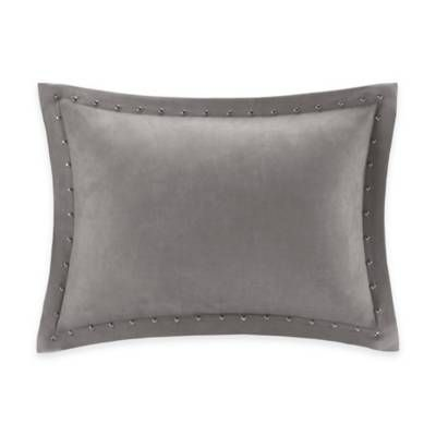 Bed Bath And Beyond Decorative Pillows Extraordinary Madison Park Alban Stud Trim Microsuede Oblong Throw Pillow  Bed Design Ideas