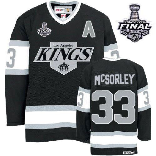 Authentic Marty Mcsorley Black Men's NHL Jersey: #33 Throwback Los Angeles  Kings CCM 2014