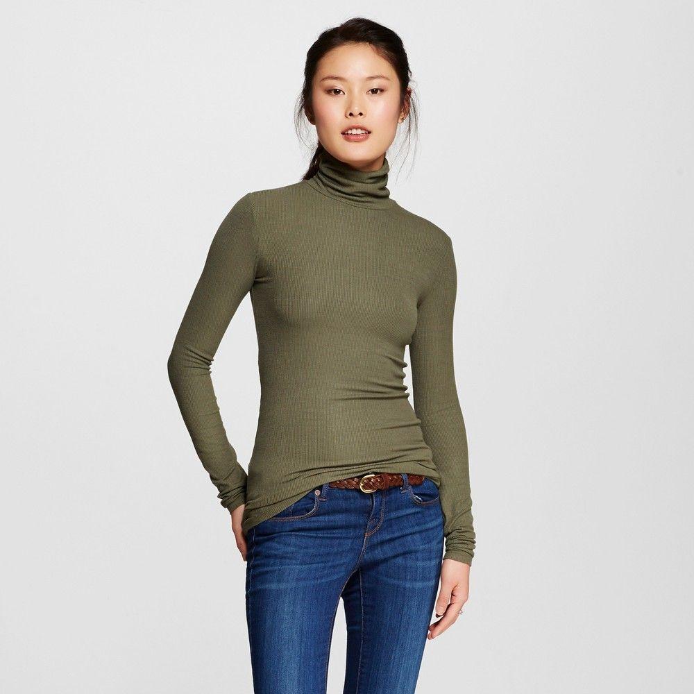 abe02946977 Women s Turtleneck Shirt Olive (Green) Xxl - Mossimo Supply Co. (Juniors )