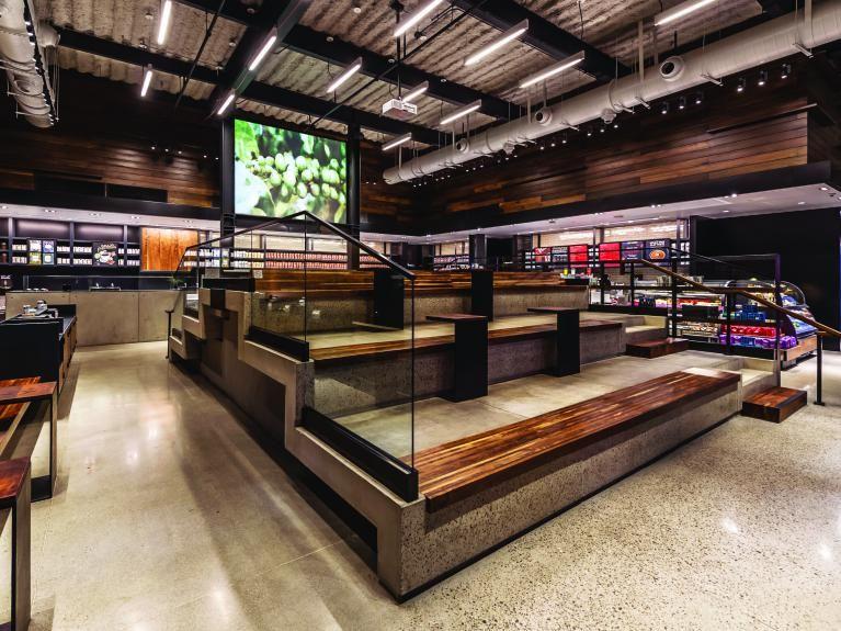 Starbucks Does Vegas Cafe seating, Cafe design, Stadium