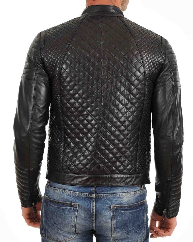 Men's Quilted Real Motorcycle Black Genuine Lambskin