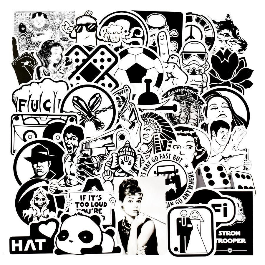 100pcs diy stickers mixed random black and white stickers for cars bicycle skateboard luggage vinyl decal home decor jdm sticker diyhomedecorblackandwhite