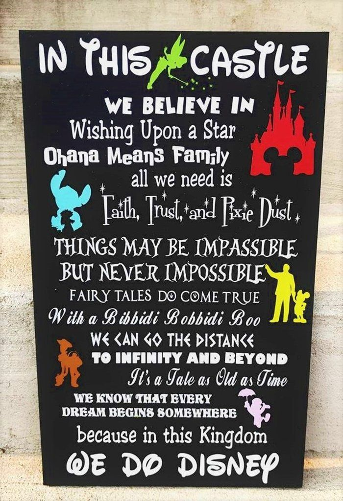 In this Castle we do Disney, Disney wood sign, FREE SHIPPING