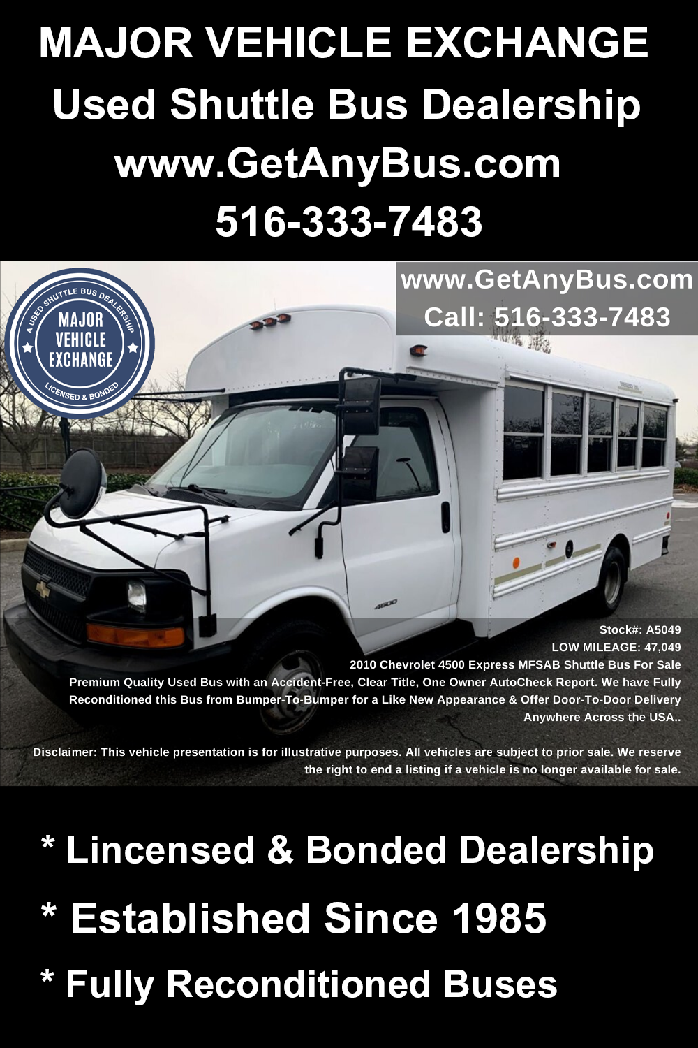 Movie Buses For Sale 2010 Chevrolet 4500 Express Mfsab Shuttle Bus