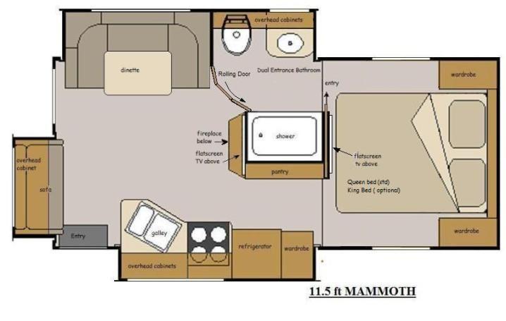 Host Rv Mammoth 11 5 Floor Plan Countertops Laminate Counter Camper Flooring